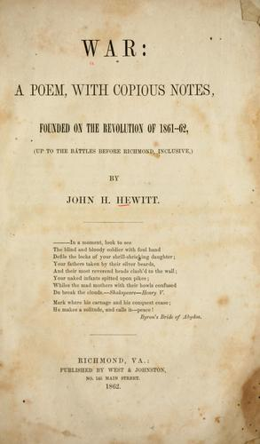 War by John Hill Hewitt