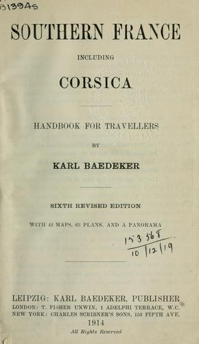 Southern France, including Corsica by Karl Baedeker (Firm)